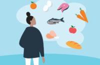 woman finding vitamins in food