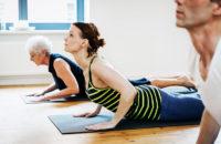 Yoga class back stretch