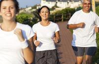 Happy family jogging