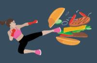 Woman kicking junk food