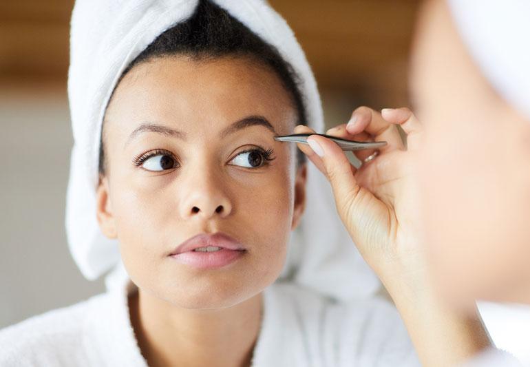 Men getting eyebrows done